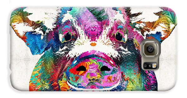 Colorful Pig Art - Squeal Appeal - By Sharon Cummings Galaxy S6 Case by Sharon Cummings