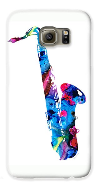 Music Galaxy S6 Case - Colorful Saxophone 2 By Sharon Cummings by Sharon Cummings