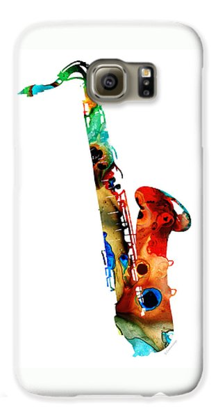 Jazz Galaxy S6 Case - Colorful Saxophone By Sharon Cummings by Sharon Cummings