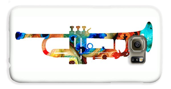 Music Galaxy S6 Case - Colorful Trumpet Art By Sharon Cummings by Sharon Cummings