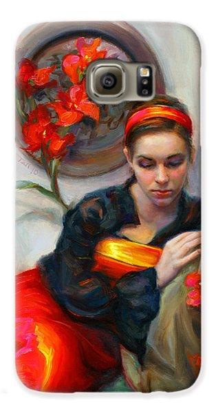 Common Threads - Divine Feminine In Silk Red Dress Galaxy S6 Case by Talya Johnson