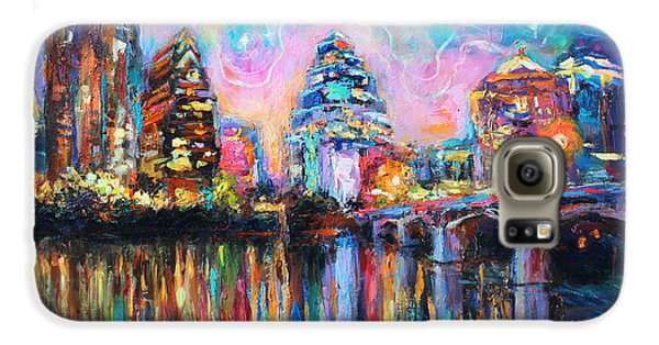 Contemporary Downtown Austin Art Painting Night Skyline Cityscape Painting Texas Galaxy S6 Case by Svetlana Novikova