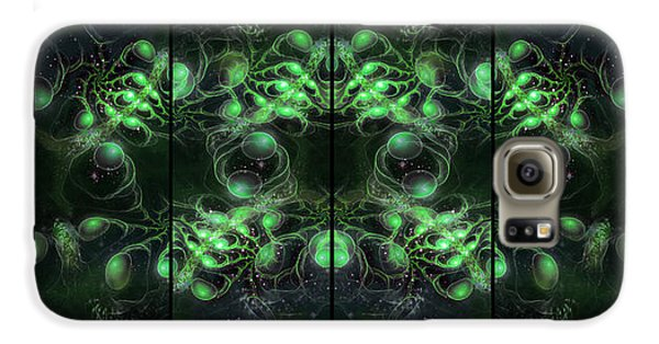 Cosmic Alien Eyes Green Galaxy S6 Case