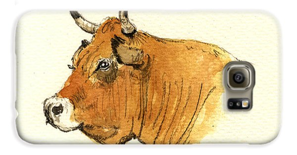 Bull Galaxy S6 Case - Cow Head Study by Juan  Bosco