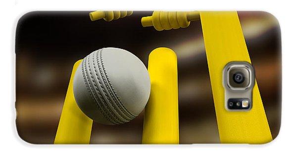 Cricket Galaxy S6 Case - Cricket Ball Hitting Wickets Night by Allan Swart