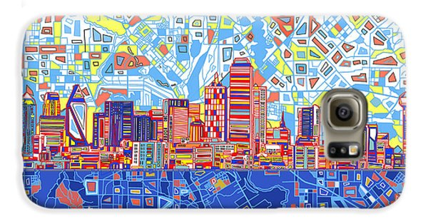 Dallas Skyline Abstract 5 Galaxy S6 Case by Bekim Art