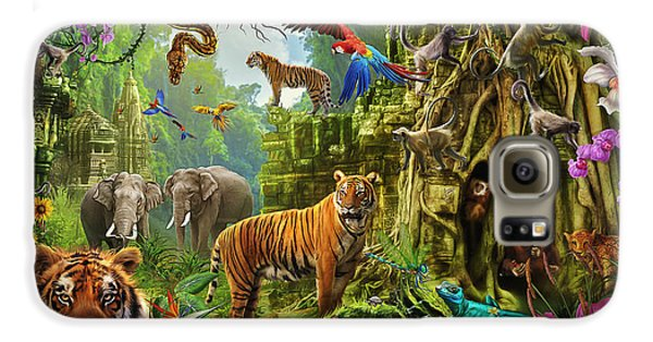 Galaxy S6 Case featuring the drawing Dark Jungle Temple And Tigers by Ciro Marchetti