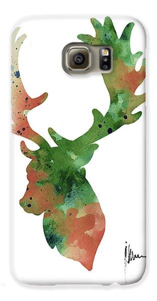 Deer Antlers Silhouette Watercolor Art Print Painting Galaxy S6 Case by Joanna Szmerdt