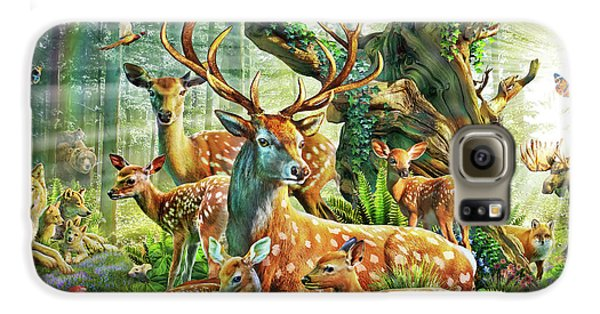 Galaxy S6 Case featuring the drawing Deer Family In The Forest by Adrian Chesterman