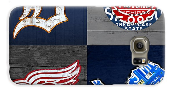 Detroit Sports Fan Recycled Vintage Michigan License Plate Art Tigers Pistons Red Wings Lions Galaxy S6 Case