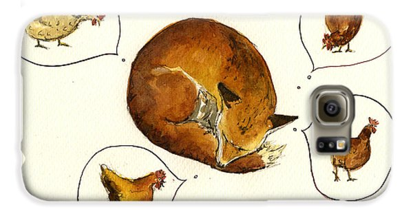 Chicken Galaxy S6 Case - Dreaming Fox by Juan  Bosco