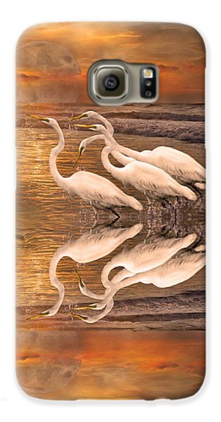Dreaming Of Egrets By The Sea Reflection Galaxy S6 Case by Betsy Knapp