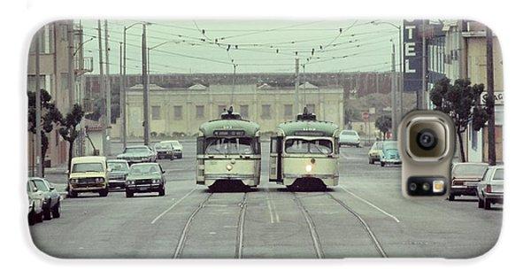 N Judah Dueling Streetcars.  End Of Judah Street.  1970s. Galaxy S6 Case