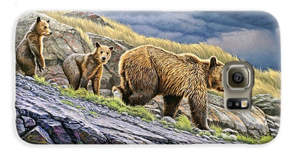 Grizzly Bear Galaxy S6 Case - Dunraven Pass Grizzly Family by Paul Krapf
