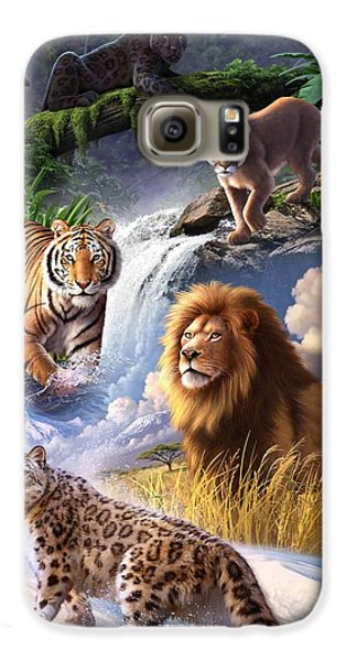 Lion Galaxy S6 Case - Earth Day 2013 Poster by Jerry LoFaro