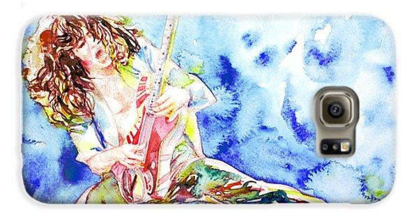 Eddie Van Halen Playing The Guitar.1 Watercolor Portrait Galaxy S6 Case by Fabrizio Cassetta