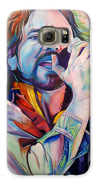 Seattle Galaxy S6 Case - Eddie Vedder In Pink And Blue by Joshua Morton