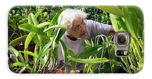 Elderly Woman Examining Plants Galaxy S6 Case