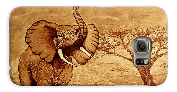 Galaxy S6 Case featuring the painting Elephant Majesty Original Coffee Painting by Georgeta  Blanaru
