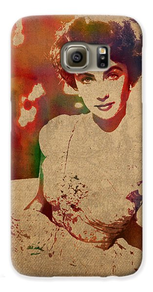 Elizabeth Taylor Watercolor Portrait On Worn Distressed Canvas Galaxy S6 Case by Design Turnpike