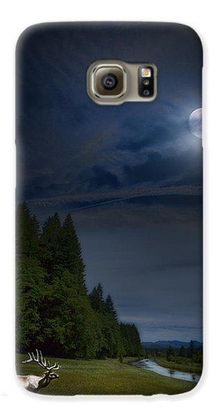 Elk Under A Full Moon Galaxy S6 Case