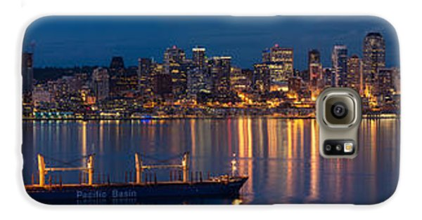 Elliott Bay Seattle Skyline Night Reflections  Galaxy S6 Case by Mike Reid