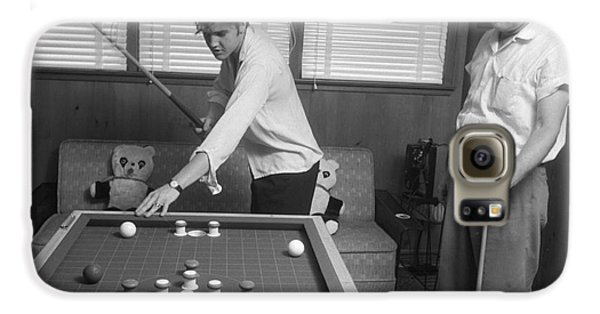 Elvis Presley And Vernon Playing Bumper Pool 1956 Galaxy S6 Case by The Harrington Collection