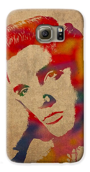 Portraits Galaxy S6 Case - Elvis Presley Watercolor Portrait On Worn Distressed Canvas by Design Turnpike