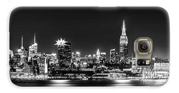 Empire State Building Galaxy S6 Case - Empire State At Night - Bw by Az Jackson