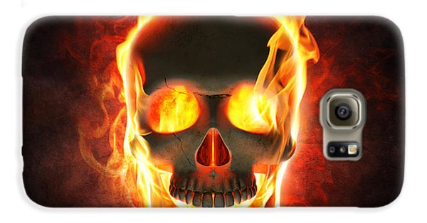 Magician Galaxy S6 Case - Evil Skull In Flames And Smoke by Johan Swanepoel