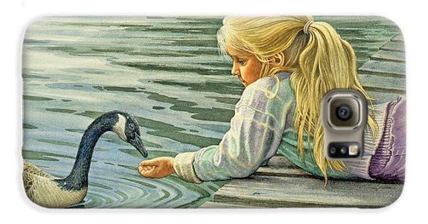 Goose Galaxy S6 Case - Feeding The Canada Goose by Paul Krapf