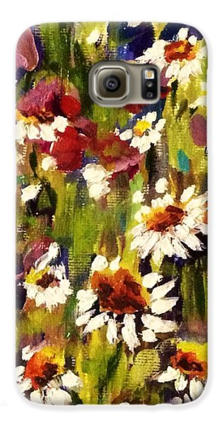 Galaxy S6 Case featuring the painting Field Of Daisies by Patti Ferron