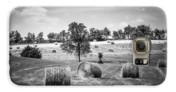 Field Of Hay In Black And White Galaxy S6 Case