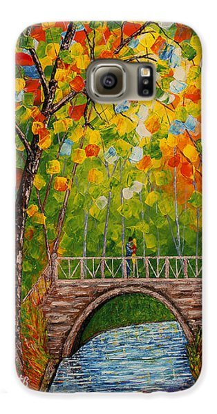 Galaxy S6 Case featuring the painting First Kiss On The Bridge Original Acrylic Palette Knife Painting by Georgeta Blanaru