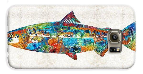 Fish Art Print - Colorful Salmon - By Sharon Cummings Galaxy S6 Case by Sharon Cummings