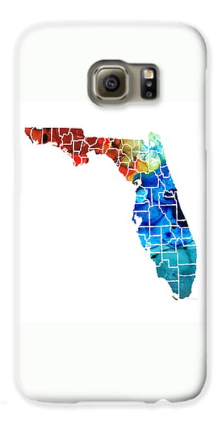 Florida - Map By Counties Sharon Cummings Art Galaxy S6 Case by Sharon Cummings