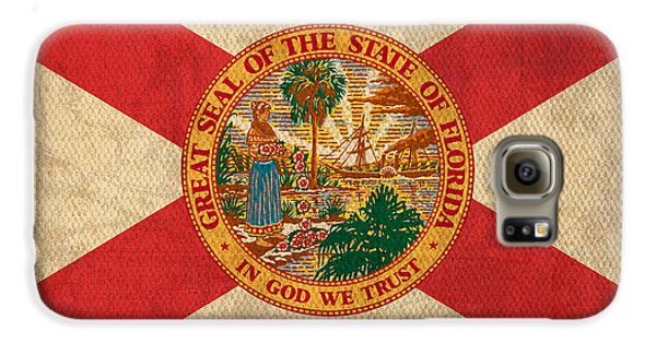 Florida State Flag Art On Worn Canvas Galaxy S6 Case by Design Turnpike