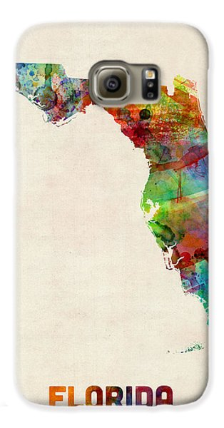 Florida Watercolor Map Galaxy S6 Case by Michael Tompsett