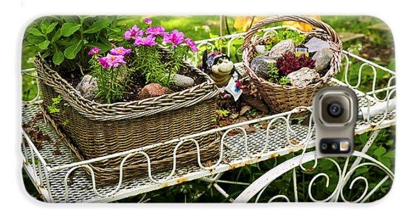 Garden Galaxy S6 Case - Flower Cart In Garden by Elena Elisseeva