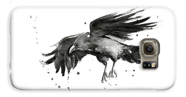 Birds Galaxy S6 Case - Flying Raven Watercolor by Olga Shvartsur