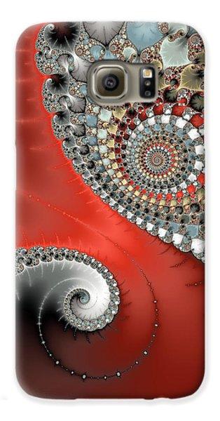 Fractal Spiral Art Red Grey And Light Blue Galaxy S6 Case