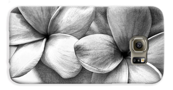 Frangipani In Black And White Galaxy S6 Case by Peggy Hughes