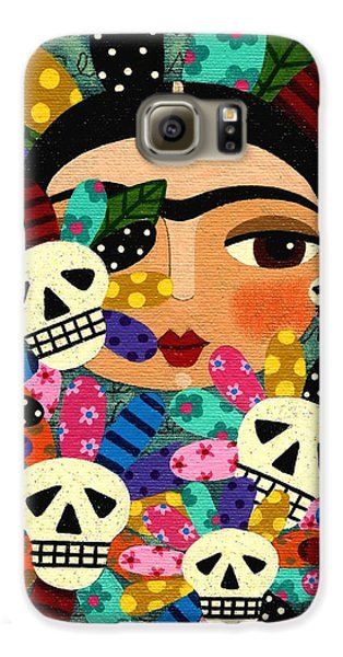 Galaxy S6 Case Featuring The Painting Frida Kahlo Day Of Dead Flowers By LuLu Mypinkturtle