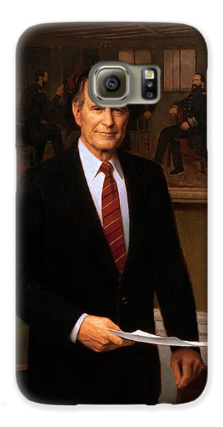 George Hw Bush Presidential Portrait Galaxy S6 Case by War Is Hell Store