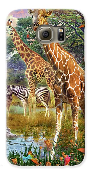 Galaxy S6 Case featuring the drawing Giraffes by Jan Patrik Krasny