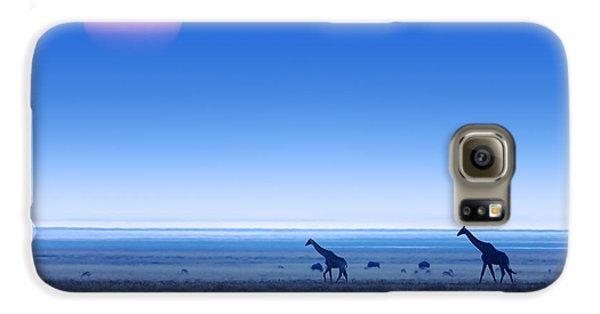 Giraffes On Salt Pans Of Etosha Galaxy S6 Case by Johan Swanepoel