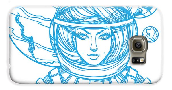 Outer Space Galaxy S6 Case - Girl In A Spacesuit For T-shirt Design by Filkusto