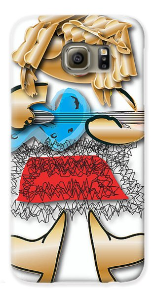 Girl Rocker 6 String Guitar Galaxy S6 Case by Marvin Blaine