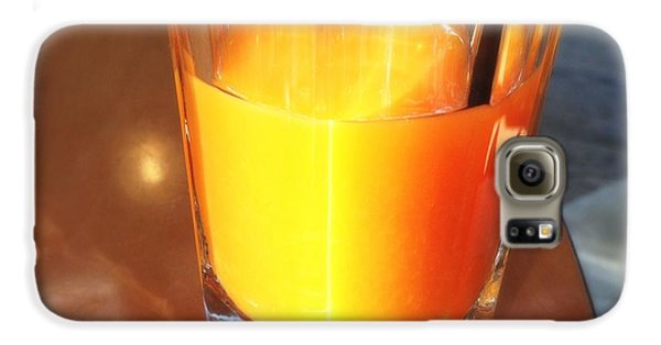 Bright Galaxy S6 Case - Glass With Orange Fruit Juice by Matthias Hauser