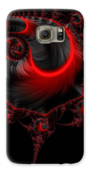 Glowing Red And Black Abstract Fractal Art Galaxy S6 Case by Matthias Hauser